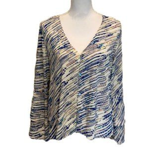 Veronica M Bell Sleeve Blouse Crop Button Down NWT
